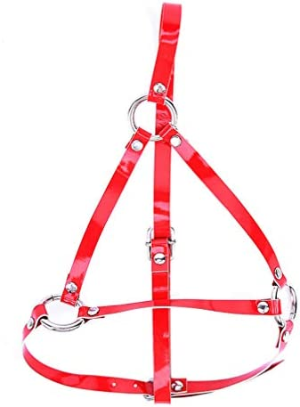 Healifty leder bondage kapuzenmaske offene augen offener mund gesicht abdeckung für paare liebhaber cosplay kostüm (rot)