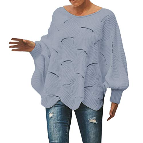 Cenglings Womens Sweater Casual Knitted Blouse Batwing Long Puff Sleeve Hollow Out Knit Pullover Ruffle Blouse ()