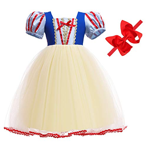 Princess Dresses (Snow,Belle,Little Mermaid,Anna,Cinderella,Rapunzel,Aurora,Elsa,Alice) Costumes for Toddler Girls Birthday 2T 3T 4T 5T 6T(3T Height 43