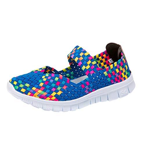 - Meigeanfang Womens Sneaker - Light Weight Elastic Trainer Slip On Sport Water Shoes Sneakers (Blue,40)
