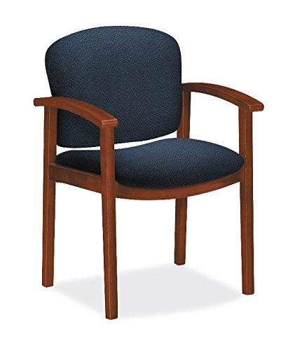 HON H2111.COGN.AB90 Invitation Cognac Finish Fabric Guest Chair with Fixed Arms and Wood Frame, Blue by HON
