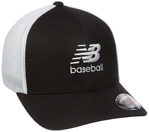 New Balance 6 Panel Curved Brim Trucker Baseball, Black, One Size