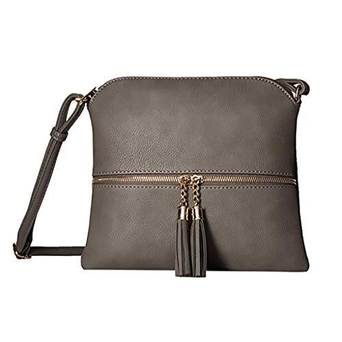 Respctfu ✶Women Shoulder Bag Leather Tassel Backpack Change Zipper Bag Fashion Solid Messenger Bag Bronze by Respctful (Image #2)