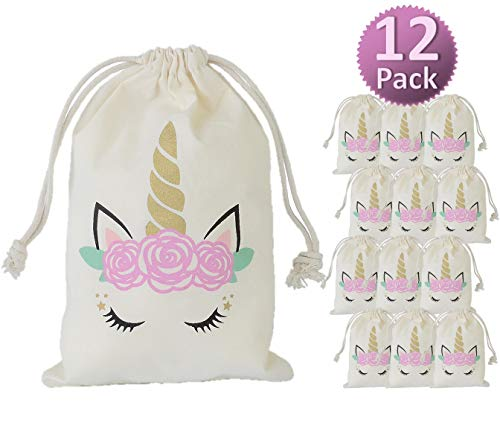 My Greca Unicorn party bags supplies - 12 party favor bags for treats, gifts and candy - Drawstring goodie bags for girls birthday party ()