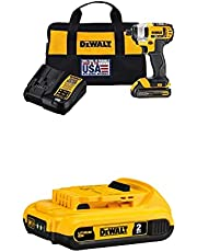DEWALT 20V Max Impact Driver Kit, 1/4-Inch (DCF885C1) with DEWALT 20V MAX Battery, Compact 2.0Ah (DCB203)