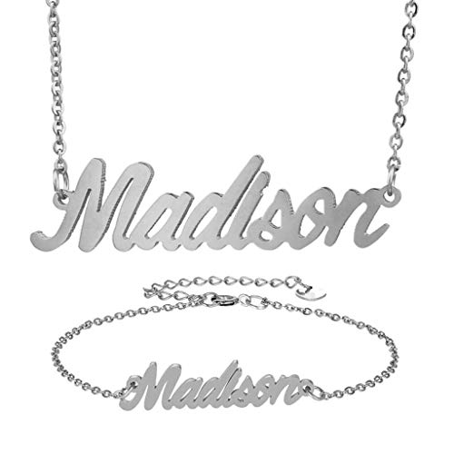 AIJIAO Personalized Name Necklace + Name Bracelet Sets for Women Nameplate Pendant Gift -Madison Silver Set