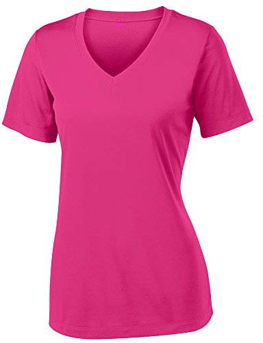 Opna Women's Short Sleeve Moisture Wicking Athletic Shirt, Large, Pink Raspberry