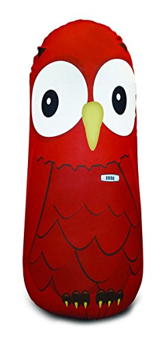 Bonk Fit Inflatable Bop Bag Toy with Standing Punching Bag and Machine Washable Fabric Cover - Emma Orange Owl