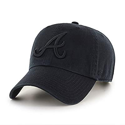Atlanta Braves Hat MLB Authentic 47 Brand Clean Up Adjustable Strapback Black Baseball Cap Adult One Size Men & Women 100% Cotton by 47 Brand