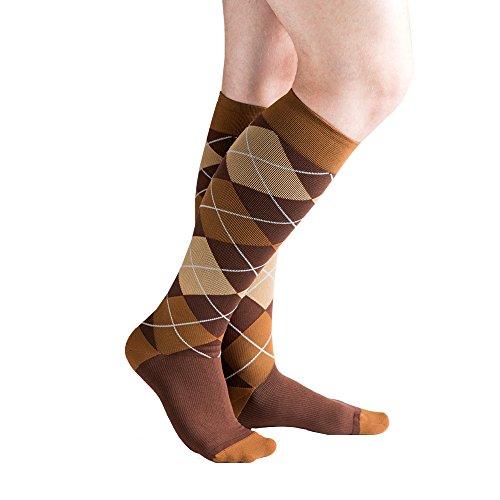 VenaCouture Mens 15-20 mmHg Compression Socks, Bold Argyle Pattern