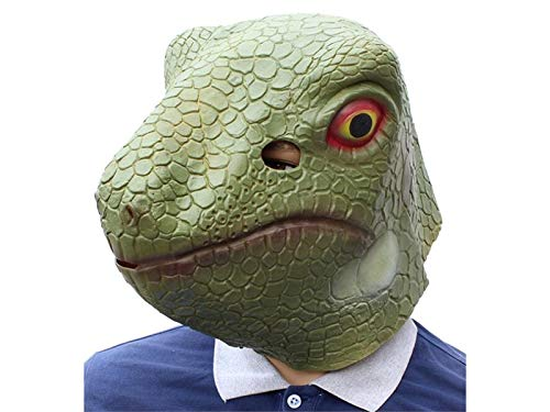 Yuchoi Funny Creative Lizard Mask Horror Halloween Ghost Party Mask Animal Head Cover (Green)
