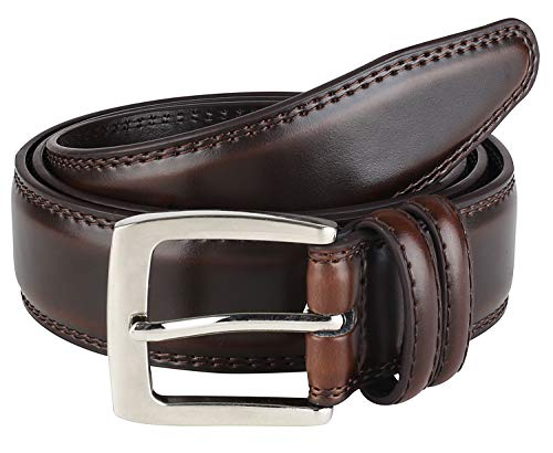 Men's Dress Belt ALL Genuine Leather Double Stitch Classic Design 35mm Cognac (Size - Belts Mens Dress Brown