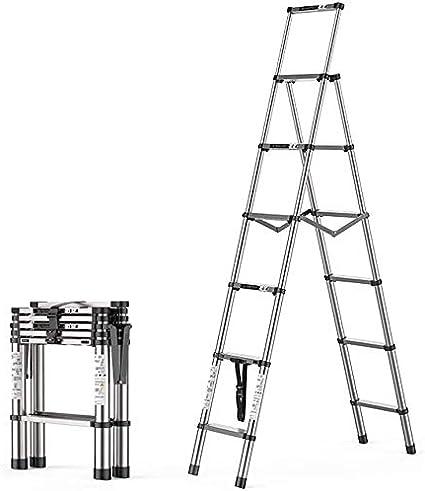 TUONAZDZ Robusto Multipropósito telescópica Escalera Plegable de Aluminio Plegable Extensible A-Frame for Ministerio de Bricolaje Jardín máximo de Carga 330lb (Size : 5+6 Step): Amazon.es: Hogar