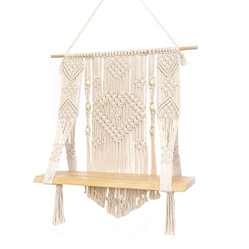KINO Boho Style Macrame Rope Woven Wood Shelf Tapestry Tassel Wall Floating Hanging Art Home Decor Handmade Craft