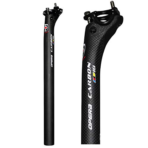 Opera Bike Seatpost Carbon Fiber Road Bike Mountain Bike Offset Seat Post - 27.2/31.6 mm Diameter Bicycle Seat Post (31.6x400 mm)