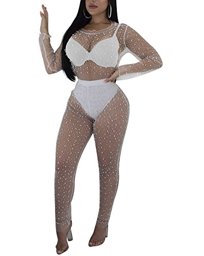 Womens Mesh See Through Bodycon 2 Piece Outfits Rhinestone Crop Top and Pants Set Sexy Jumpsuit Rompers White ()