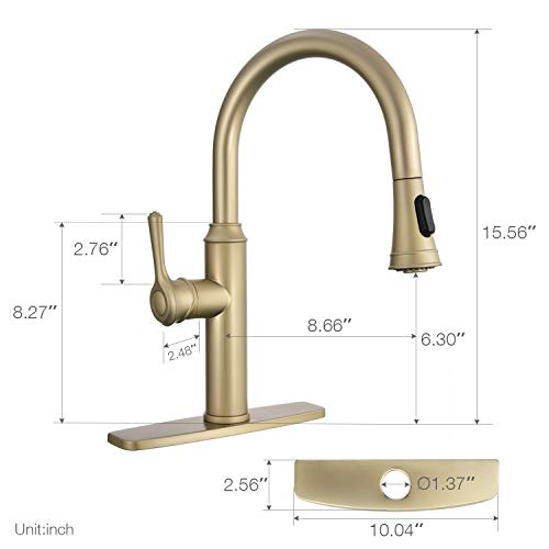 Peppermint Kitchen Sink Faucet Matte Champagne Bronze Single Handle with Pull Down Sprayer Matte Gold by Peppermint (Image #5)