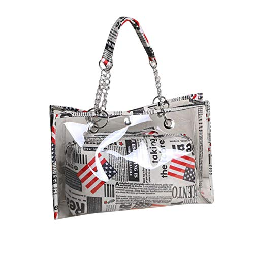 (Women's Waterproof Clear Tote Bags PVC Beach Transparent Shoulder Crossbody Bag with Pouch, Stars, Stripes and Flag Print (Gray,))