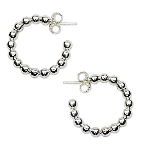 Silver Half Hoop Post Earrings 'Moonglow' (Moonglow Stone)