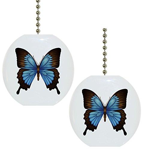 - Set of 2 Blue Mountain Swallowtail Butterfly Butterflies Solid Ceramic Fan Pulls