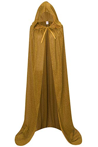 Unisex Halloween Cape Hooded Cloak Cosplay Christmas Party Adult Costume Outerwear (L, Gold)