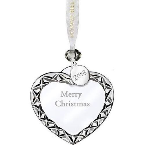 (Waterford Crystal 2018 Heart Ornament Merry Christmas 3