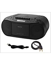 Sony CD Player Portable Boombox with AM/FM Radio & Cassette Tape Player Plus A Auxiliary Cable 3.5 to 3.5 Male to Male Cable, Bundle