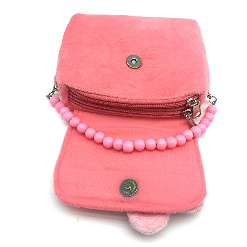 Elesa Miracle Little Girl Bag Beauty Set Plush Handbag + Flower-shaped Clip-on Earrings + Necklace and Bracelet Set (Pink)