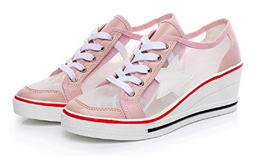 JiYe Pump Shoes Womens Canvas High-Heeled Shoes Wedge Shoes,Fashion Sneakers 0-pink