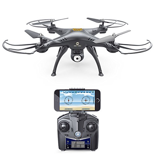 Holy Stone HS120 Wifi FPV Drone with Adjustable HD Camera Live Video RC Quadcopter with Altitude Hold, App Control and 3D VR Headset Compatible, RTF Easy to Fly for Beginner and Expert, Color Black