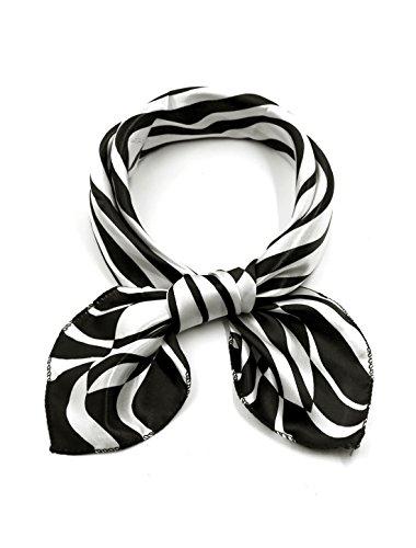 Print Silk Black Dress Zebra (uxcell Women Square Shaped Zebra Prints Casual Scarf Black White)