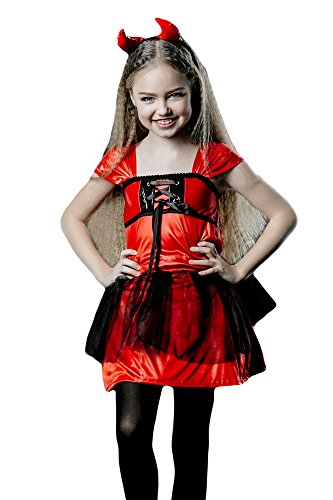Ideas Halloween Costume Teenage Girls (Gils' Little Devil Darling Devilina Imp with Horns Girl Dress Up & Role Play Halloween Costume (3-6)