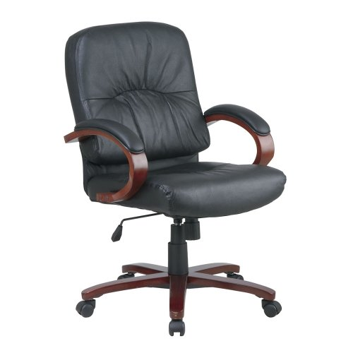 Mid Back Black Genuine Leather Executive Chair with Cherry Frame, NBF Signature Series Work Smart Collection