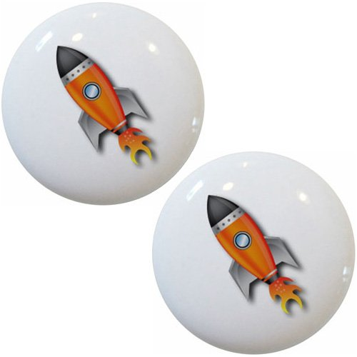 Rocket Knob (Set of 2 Space Ship Rocket Ceramic Cabinet Drawer Knobs)