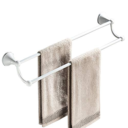 Flybath Towel Bar Rail Double Layer Brass White Finish Hanger Holder Wall Mounted, 60 cm / 23.6 inches