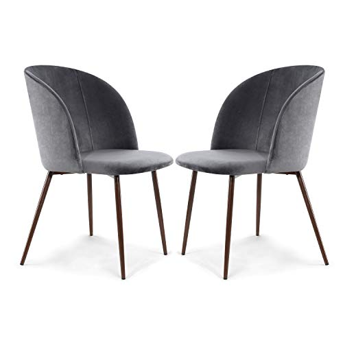 EdgeMod Kantwell Velvet Dining Chair, Set of 2, Cool Charcoal/Walnut