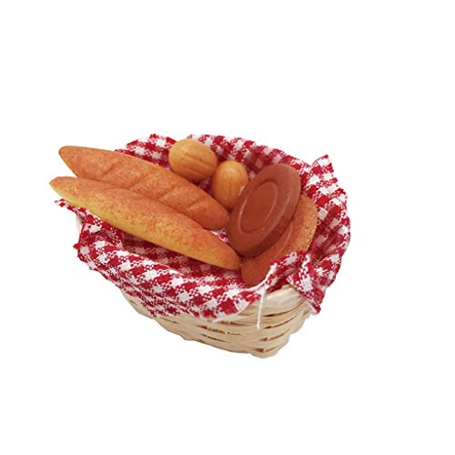 Vibola Dollhouse Accessories,1/12 Scale Miniature Food Bread Toast Basket Suitable for Living Room Pretend Play Dollhouse Toy