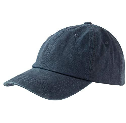 Levine Hat Unisex Stone Washed Cotton Baseball Cap Adjustable Size (One Size, Navy)