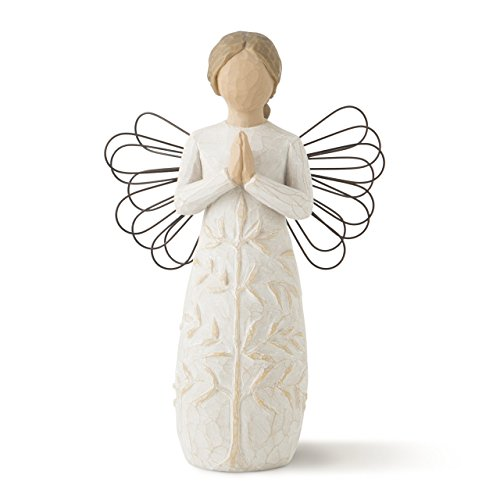 Willow Tree hand-painted sculpted angel, a tree, a prayer -