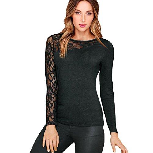 Tefamore Frauen lange Ärmel Pullover T Shirt Spitzen lässige Bluse