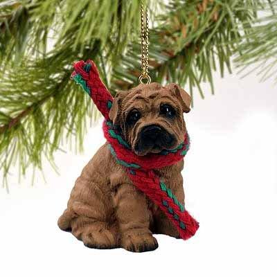 (Shar Pei Miniature Dog Ornament - Brown)