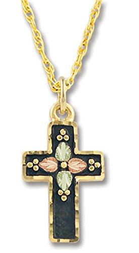 - Black Hills Gold Antiqued Cross Pendant in 10k Gold