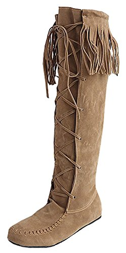SFNLD Women's Fashion Round Toe Stitches Fringe Lace Up Knee High Riding Boots Yellow 8 B(M) US