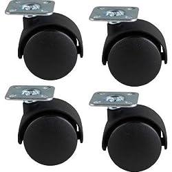"1 1/2"" Twin Wheel 4 Piece Swivel Caster Kit for Furniture & Equipment Racks (4 Wheels)"