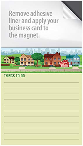 Magnet Notepads - with a Peel and Stick Area for Your Business Card! Box of 50 Notepads (Houses for -