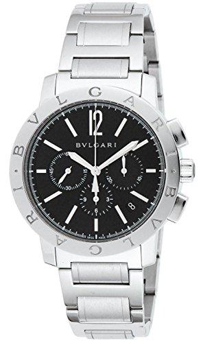 (BVLGARI Bulgari Black Dial Automatic Chronograph Watch Men BB41BSSDCH)