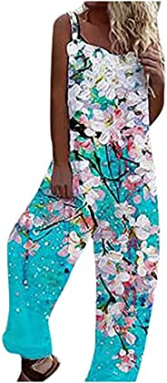 SHOPESSA Boho Sleeveless Overalls for Women Casual Lightweight Butterfly Jumpsuit Loose Fit Long Pant Rompers