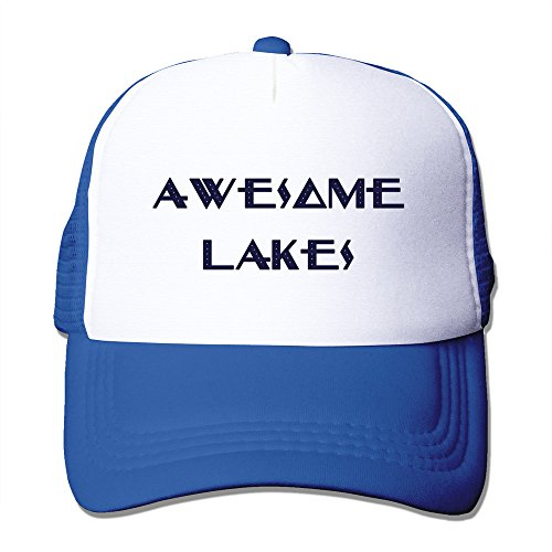 Mens Awesome Lakes Mesh Back Baseball Cap Trucker Caps RoyalBlue