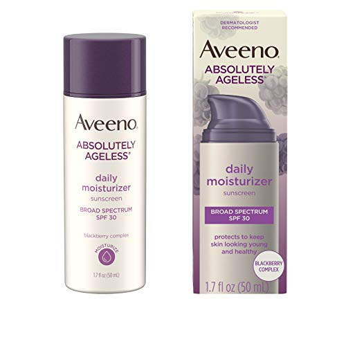 41MQA%2BPaV4L - Aveeno Absolutely Ageless Daily Facial Moisturizer with Broad Spectrum SPF 30 Sunscreen, Antioxidant-Rich Blackberry Complex, Vitamins C & E, Hypoallergenic, Non-Comedogenic & Oil-Free, 1.7 fl. oz