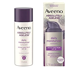 Aveeno Absolutely Ageless Anti-Wrinkle Facial Moisturizer with SPF 30 Sunscreen, Antioxidant-Rich Blackberry Complex, Vitamins C & E, Non-Comedogenic & Oil-Free Moisturizer, 1.7 fl. oz